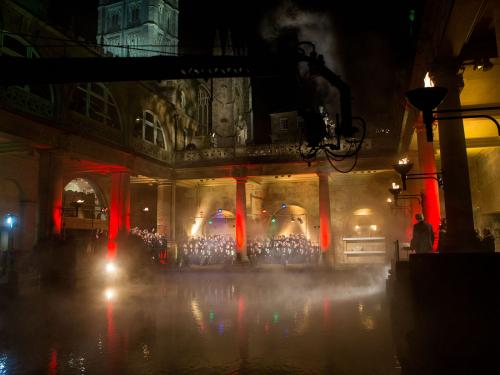 Image: Children in Need being filmed at the Roman Baths