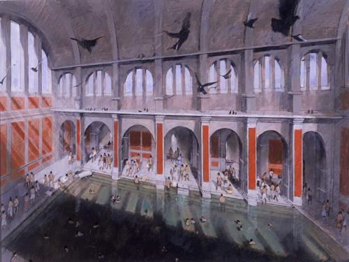 Image: Ronayne illustration of the Great Bath in Roman times