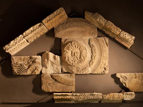 Image: The temple pediment at the Roman Baths
