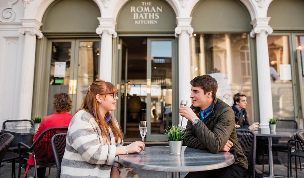 Image: Customers outside at the Roman Baths Kitchen
