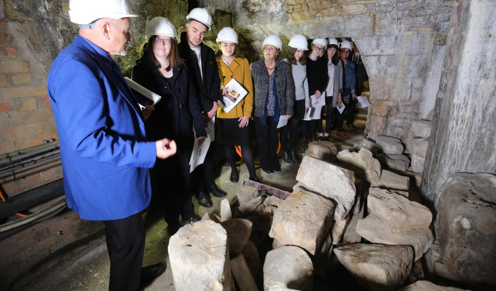 Image: People taking part in an Above and Below Tour