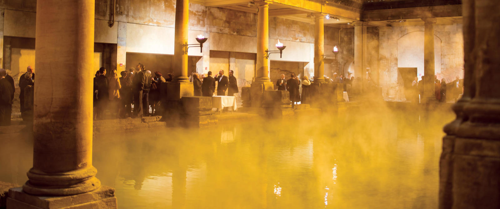 Image: Drinks reception beside the Great Bath. Picture: Paolo Ferla