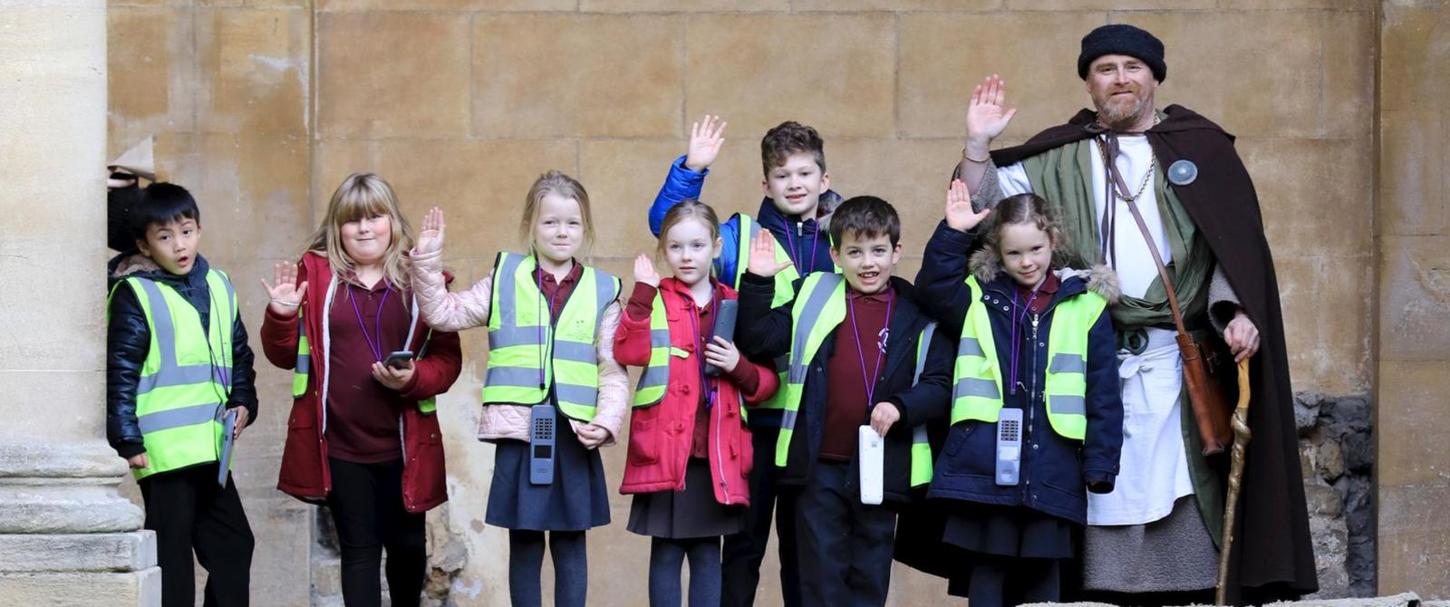 Image: School group at the Roman Baths