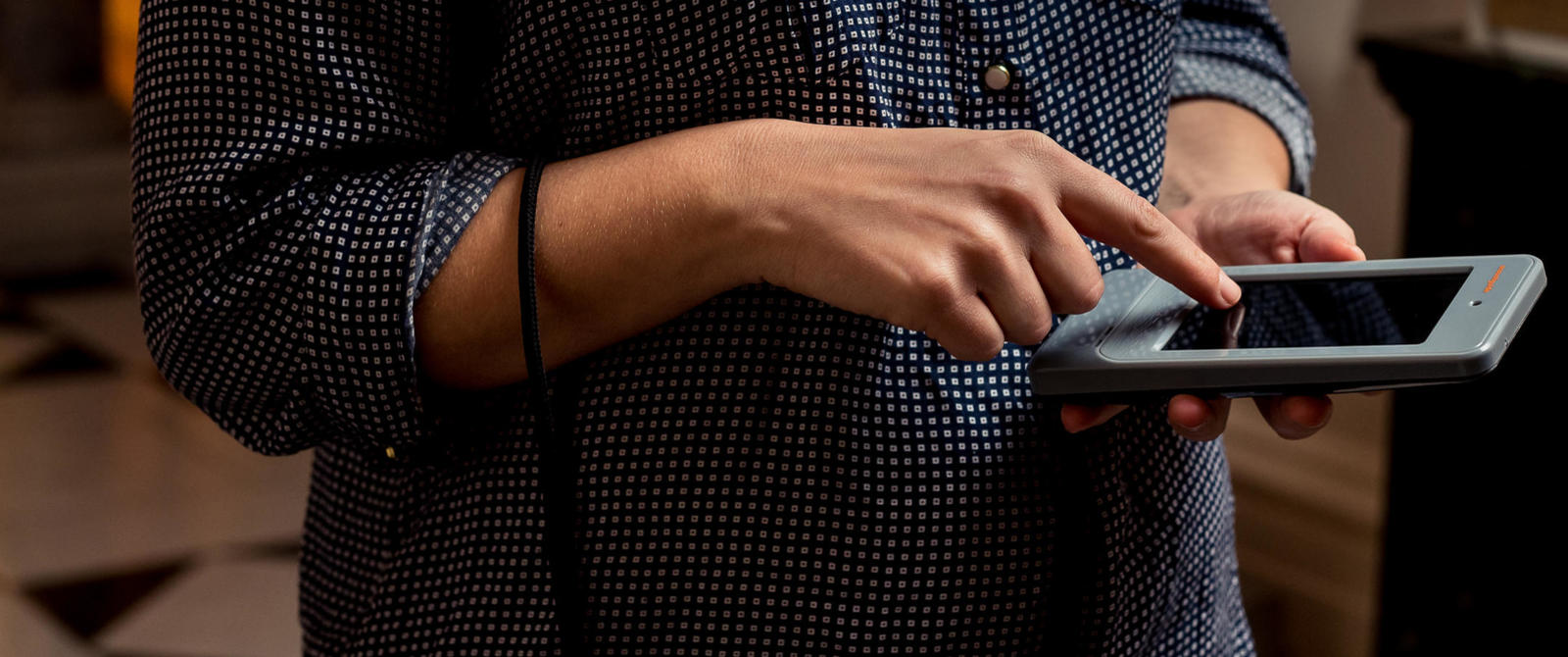 Image: Visitor using a handheld device