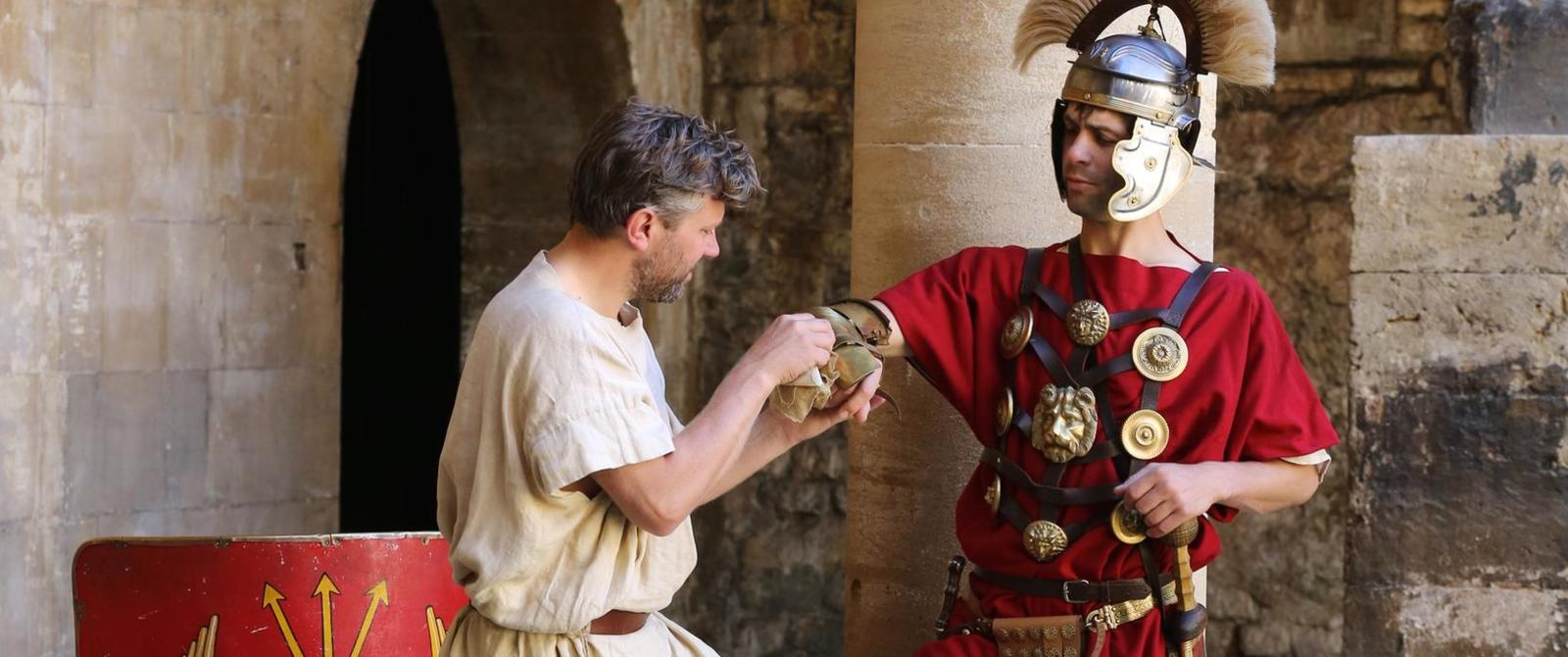 Image: Costumed characters at the Roman Baths