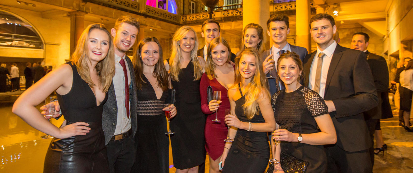 Image: Christmas party group at the Roman Baths