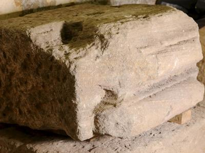 Image: 6. Roman pilaster base made from local Bath stone. 40.5cm by 84cm, RB 910