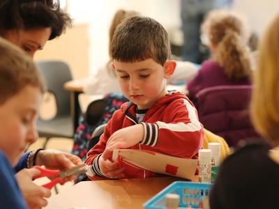 Image: Children taking part in a craft activity