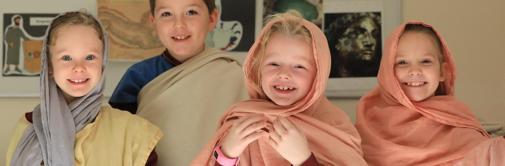 Image: Pupils dressed in togas