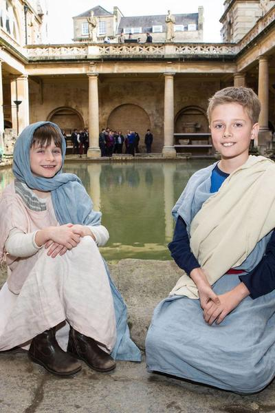 Image: Family activity at the Roman Baths