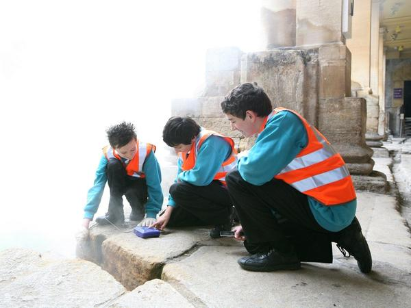 Image: Pupils at a science session around the Great Bath