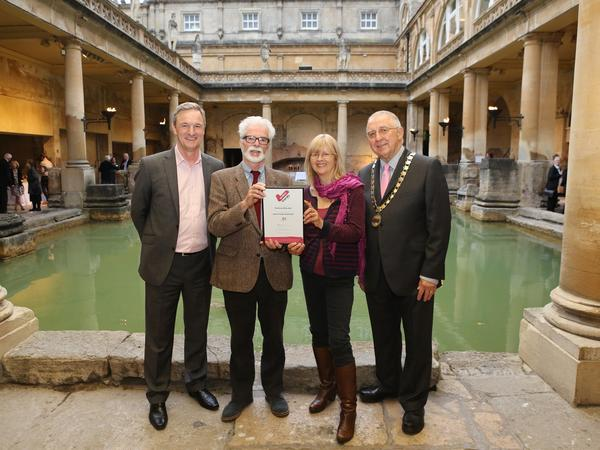 Image: Mark Lever, CEO of The National Autistic Society, presented its Autism-Friendly Award to Councillor Patrick Anketell-Jones, Cabinet Member for Economic Development; Katie Smith, Heritage Services Visitor Services Manager; and Councillor Alan Hale, Chairman of Bath & North East Somerset Council.