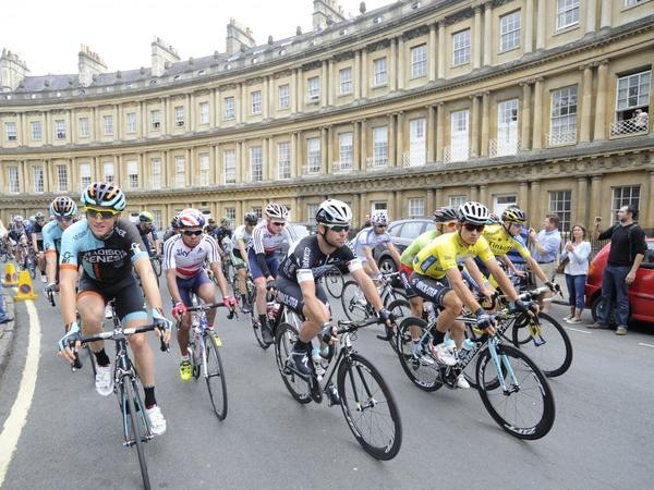 Image: Tour of Britain cyclists cycling through Bath in 2014