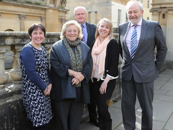 Image: Roman Baths staff with Dame Vivien Duffield