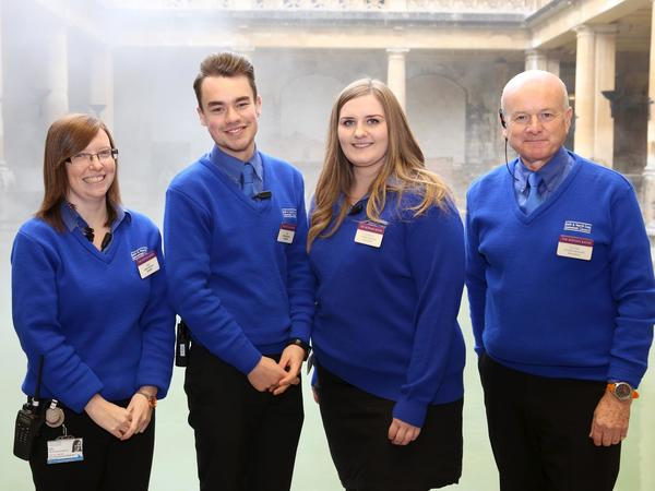 Image: Visitor Services Assistants beside the Great Bath