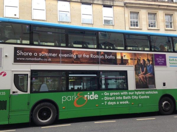 Image: Park and Ride bus with Roman Baths advert