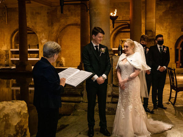 Image: Mr and Mrs White-Christmas getting married at the Roman Baths. Credit: Memories Made Photography